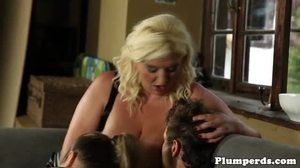 Group, Boobs, Blowjob, 3 some, Plump, Blonde, High definition